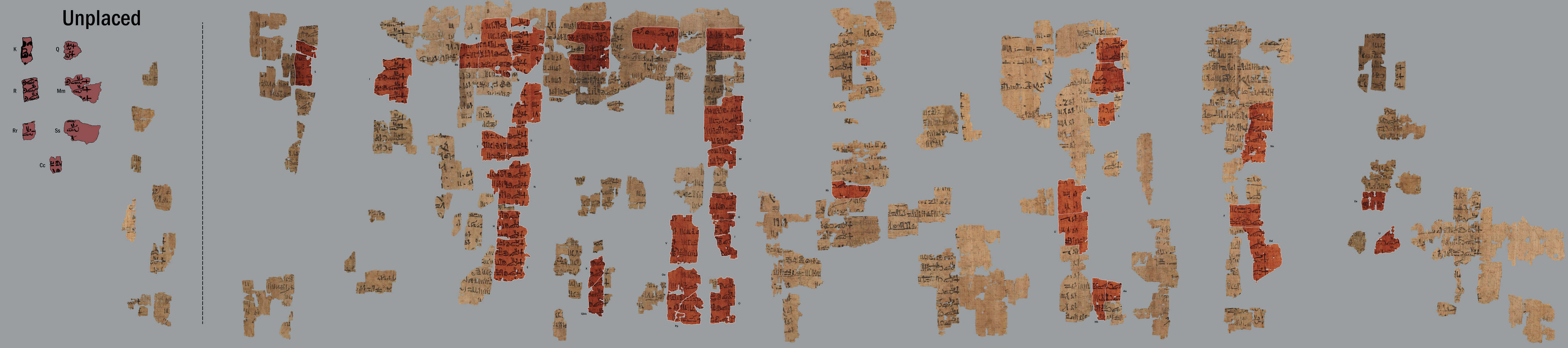 Fragments discovered by Champollion (in red)