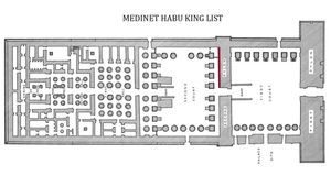 Map to location of the Medinet Habu king list